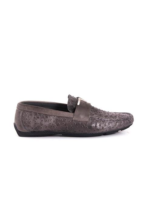 Kemal Tanca %100 Deri Loafer Ayakkabı Gri